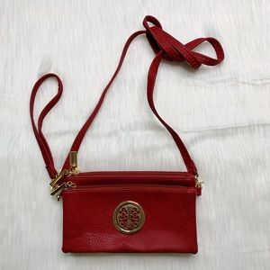 Red Crossbody & Wristlet Purse Gold Hardware